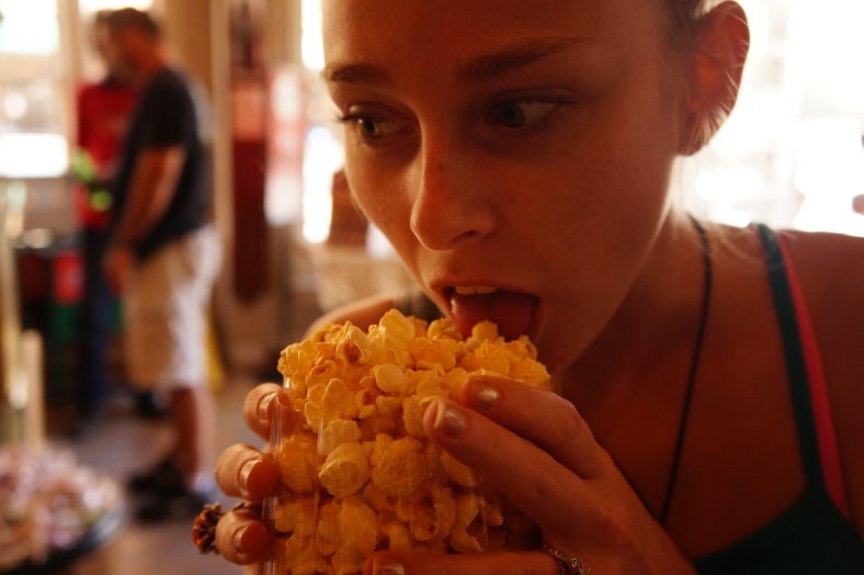 I have never seen anyone eat popcorn like this...