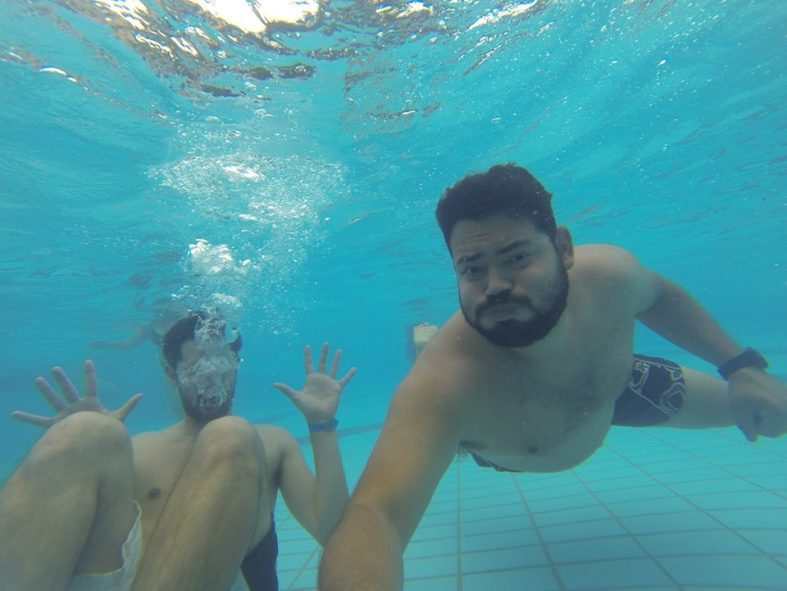 Jose and I avoiding death in the wave pool.